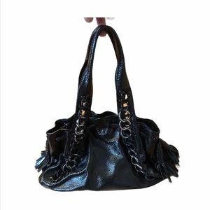 Michael Kors Black Leather Link Shoulder Bag